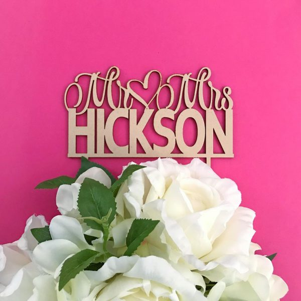 custom name cake topper for wedding, personalised wedding cake topper Australia
