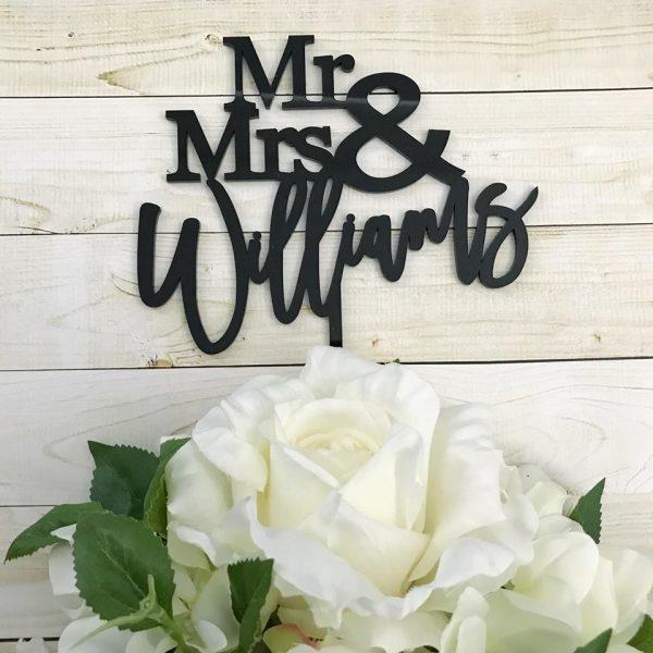 black Cake topper for wedding, rose gold cake topper, wedding cake personalised topper