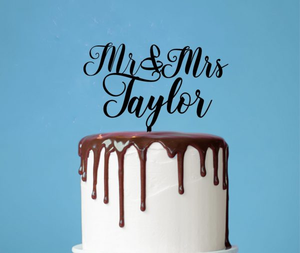 Custom Cake Topper, Last Name Cake Toppers, Mr and Mrs Elegant Wedding Cake Topper