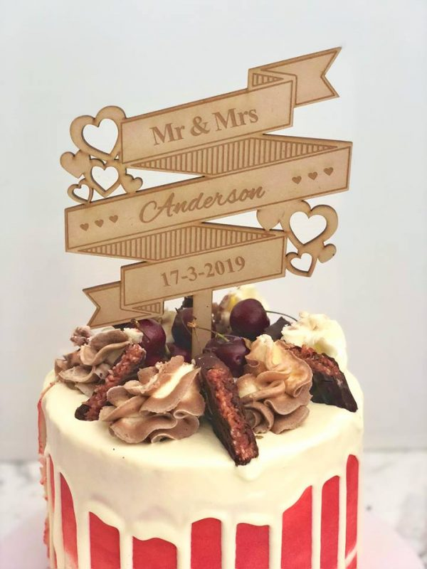 Rustic Country Themed Wedding Cake Topper, Custom Name and Date Cake Topper, Ribbon Topper, Unusual Personalised Mr & Mrs Toppers Australia