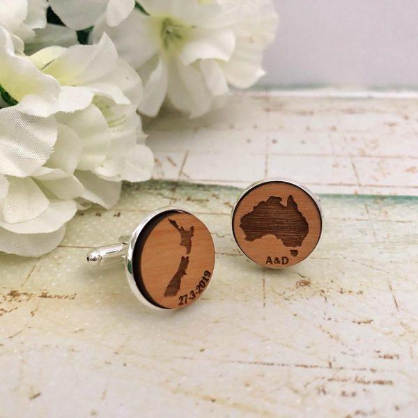 New Zealand Wedding Cufflinks, Wooden Map Cufflinks, New Zealand Australia Wedding gift Groom, Personalised Map Cufflinks