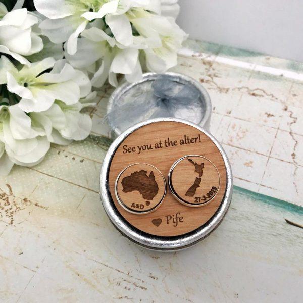 New Zealand Groom Gift Idea. NZ AUST wedding cufflinks, Cufflinks for New Zealand Wedding, World Map Cufflinks