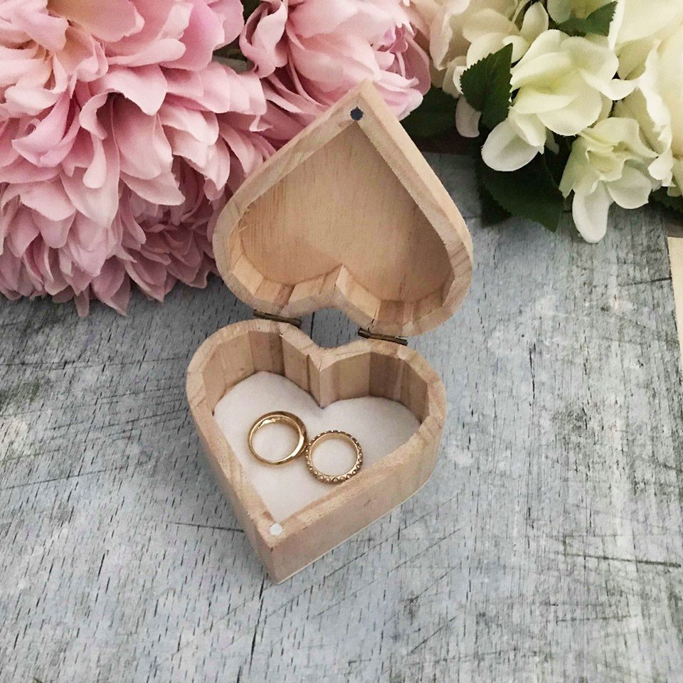 Personalised Heart Shape Ring Box Bridal Bling