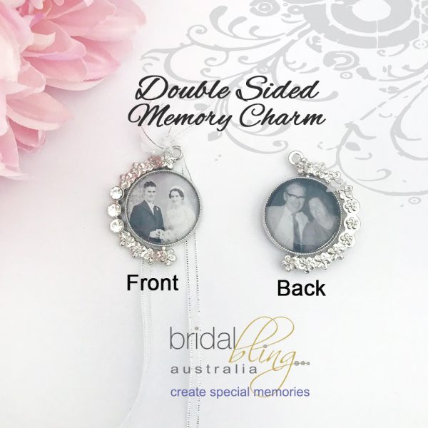 Two Sided Bouquet Photo Charm, 2 Sided Photo charm for Wedding Bouquet, Memorial Photo Charms