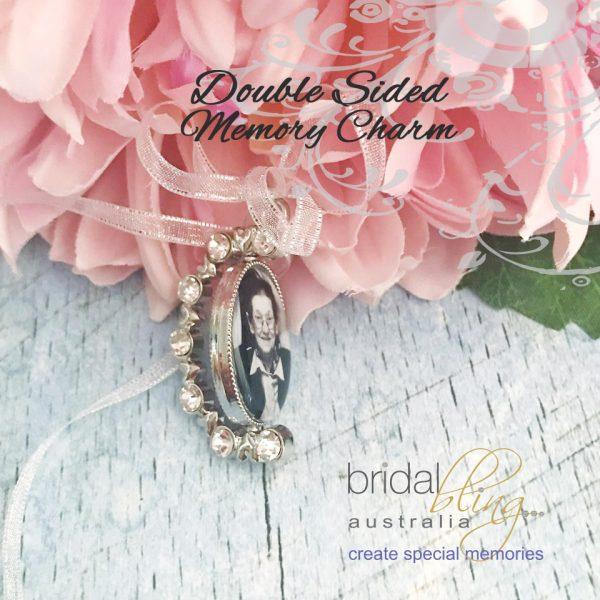 Rotating Memory Char, Rhinestone Memory Charm, 2 photo Charm for Wedding, Spinning Photo charm