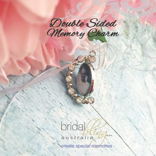 Spinning Wedding Charm with 2 photos, double sided photo charm for wedding, In Memory of Grandparents at Weddings