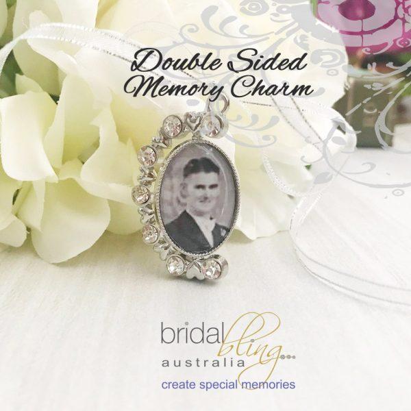 Wedding Keepsake, Double Sided Photo Charm for Wedding