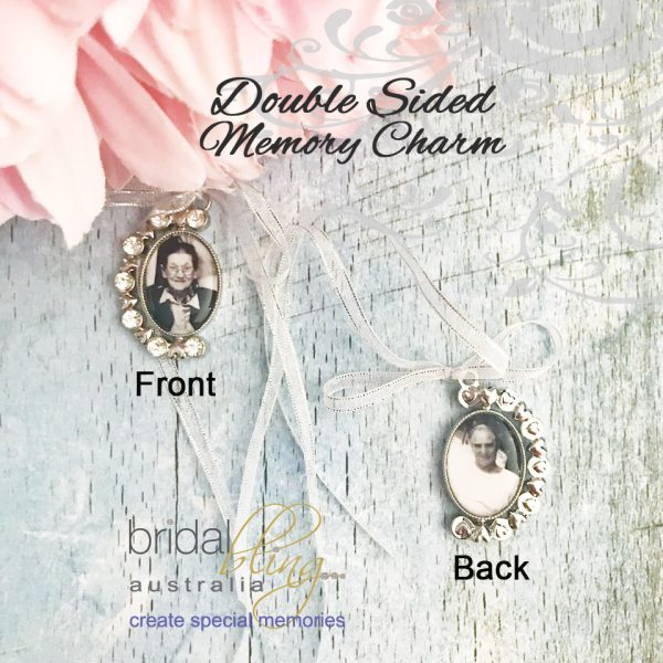 Remembering Grandparents at wedding, 2 photos memory charms for brides bouquets