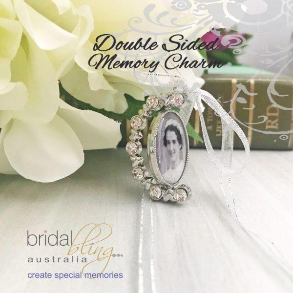 Rhinestone Photo Charm, 2 Sided Memorial Charm for wedding bouquet