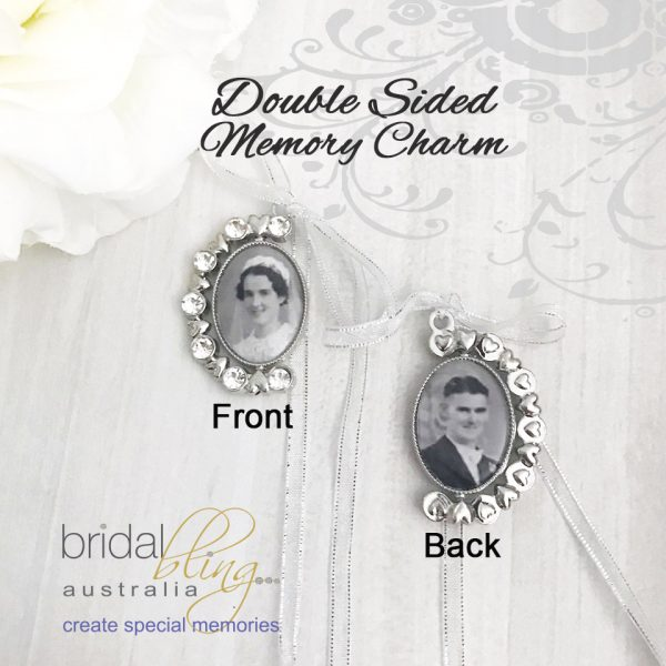 2 Sided Photo Charm for Bridal Bouquet, Wedding Bouquet Charm, Double Sided Photo Charm