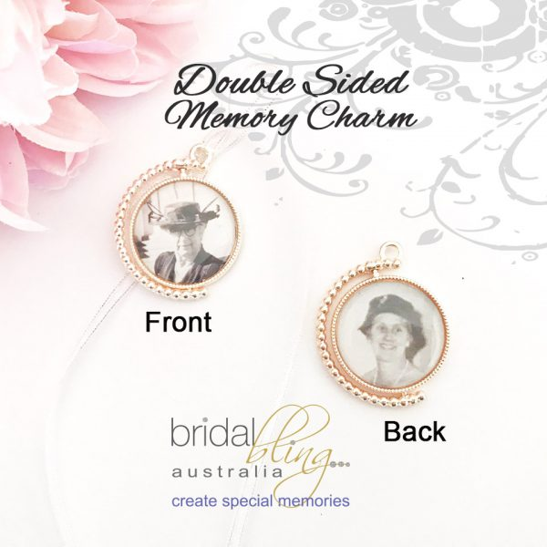 Double Sides Memorial Charm, Rose Gold Memory Charm, Gold Photo Charm