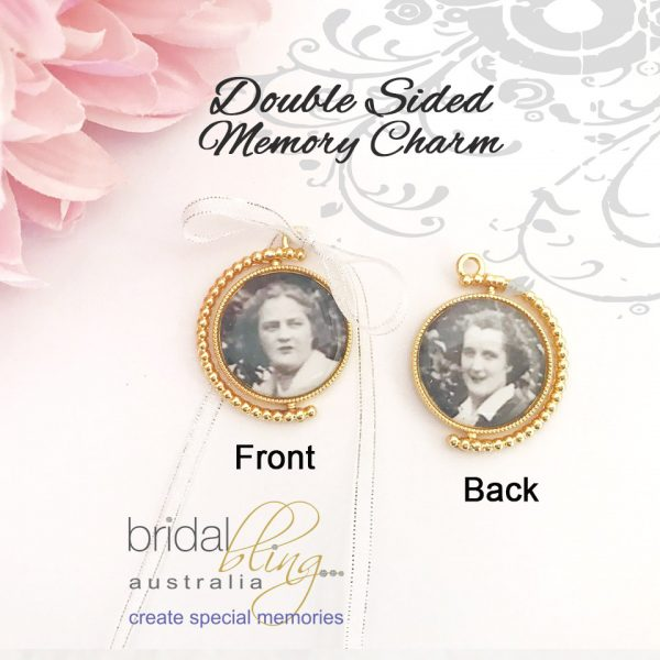 Double sides Photo Charm, Spinning memory charm, Rotating Photo charm