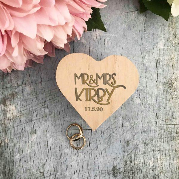 Wood Ring Box shaped in heart, Ring Box Alternative for Ring Bearer