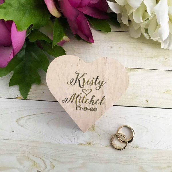 Ring Box for Wedding, Wooden Ring Box, Heat Shape Ring Box, Ring Bearer Ring Box Alternative