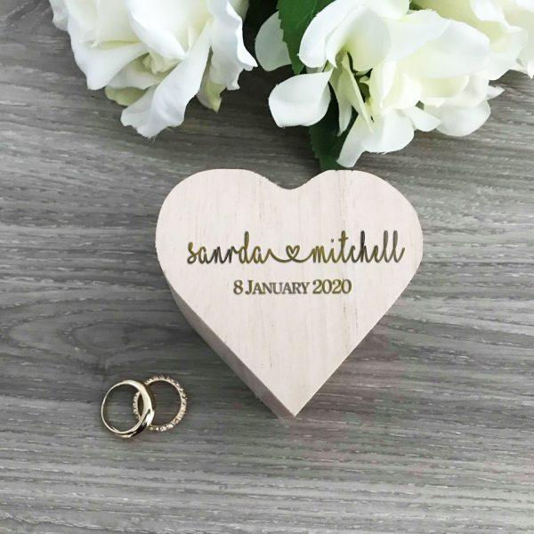 Personalised Heart Shape Ring Box, Custom Ring Box for Wedding, Rustic Ring Box for Wedding
