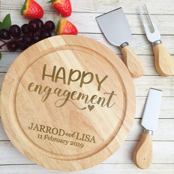 Engagement Gift Idea, Personalised Gift for Engagement party, Custom Design Cheese Board Engagement Present