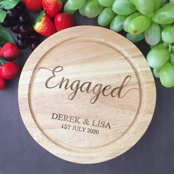 Engaged Cheese Board; Gift for newly engaged couple, Engagement Gift Idea