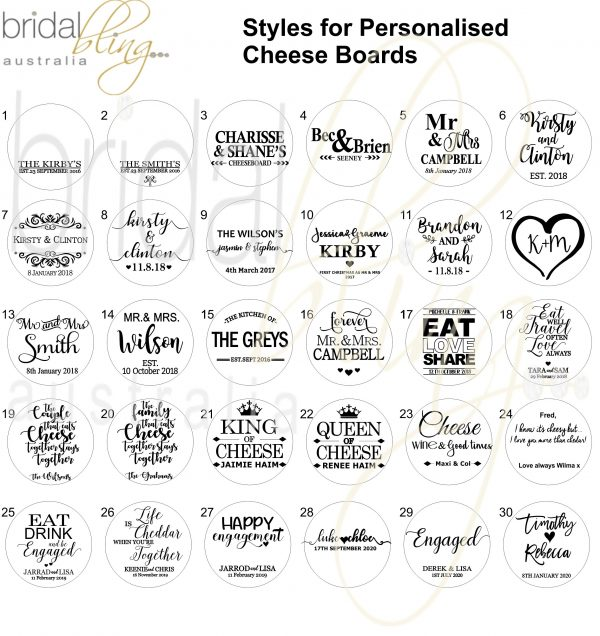 Bridal Bling Australia Personalised Cheese Boards