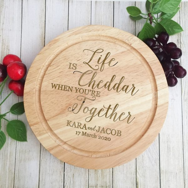 Wooden Cheese Board Set, Personalised Gift for Couple Engaged, Engagement Gift, Wood Wedding Anniversary Gift Idea, 5th Wedding Anniversary Gift