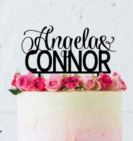 Custom Couple Name Cake Topper, 2 Name Cake Topper, Cake Topper with Two Names for Engagement