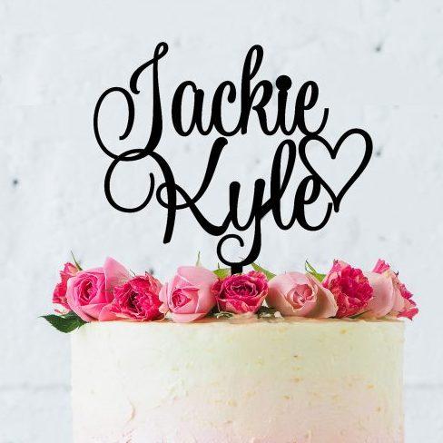 wedding cake toppers Australia, Personalised Names Topper, Topper with 2 Names, Custom Names Cake Topper