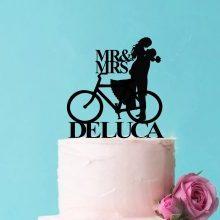 Novelty Wedding Cake Toppers, Custom Bicycle Cake Topper, Cycling Cake Toppers for Wedding, Custom Push Biking Couple Wedding Cake Topper