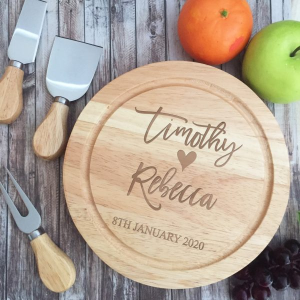 Gift for Engagement Couple, Wood Anniversary Gift Idea, Personalised Cheese board, Custom Cutting Board gift idea