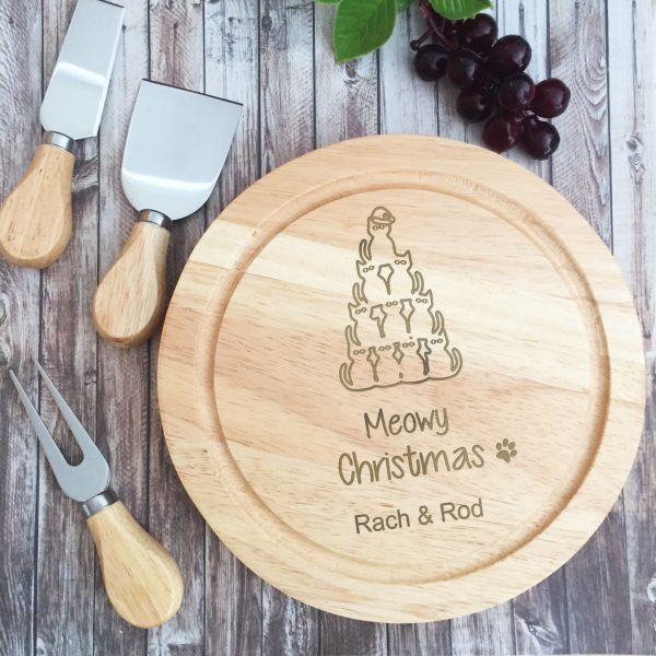 Meowy Christmas Gift, Christmas Gift for Cat Lover, Christmas Gift for Pet Lover, Personalised Cheese Board Australia