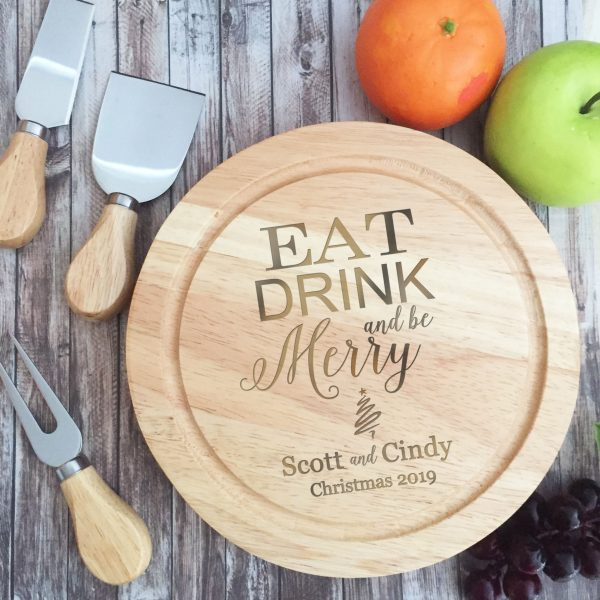 Eat Drink and Be Merry Christmas gift, Personalised cutting Board, Cheese Board Australia