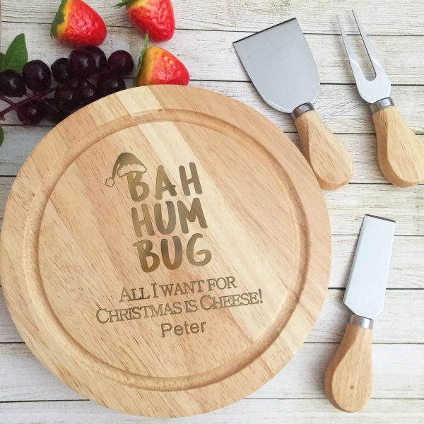 Personalised bahhum bug cheese board, Christmas Cutting Board