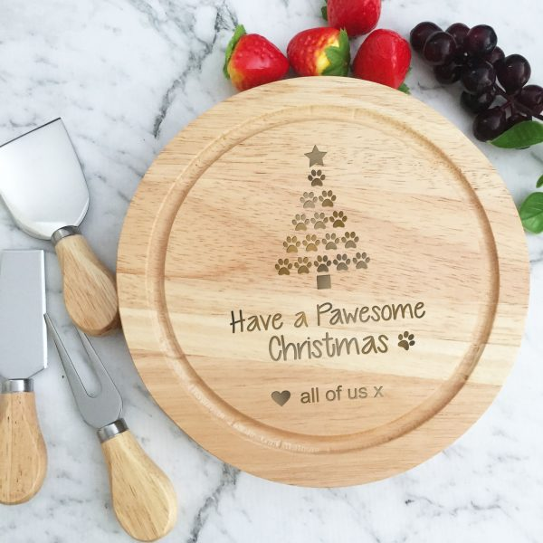 Merry Pawesome Christmas Gift, Dog Lovers Christmas Gift, Cutting Board Australia, Pet Lovers Xmas Gift