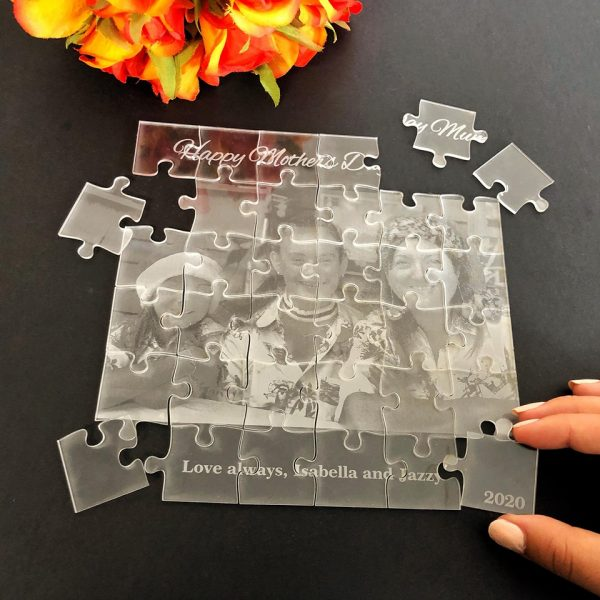 clear jigsaw puzzle, personalised gift idea for mum, Fun Christmas Puzzle Gift for Mum