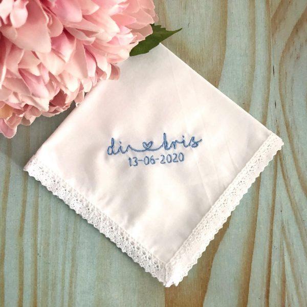 Personalised Wedding Handkerchief for Bride, Wedding Keepsake Gift for Bride, Bridal Gift Idea