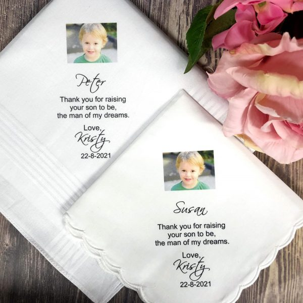 Parents Wedding Gift, Hanky with Photo, Gift for Parents on Wedding Day
