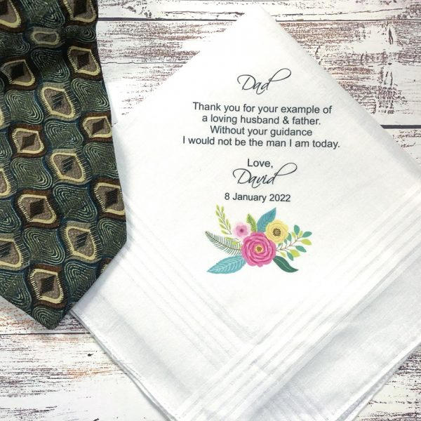 Father of the Groom Wedding Handkerchief, Wedding Gift for Dad, Personalised Mens Hanky