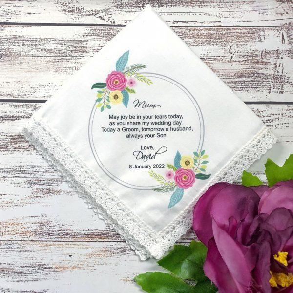 Wedding Gift for Mum, Motehr of the Groom Gift idea, Personalised Ladies Hanky