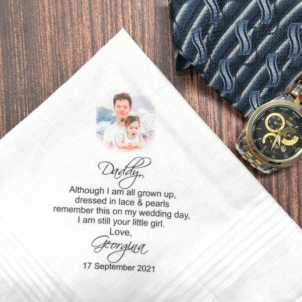 Custom Printed Handkerchief for Father of the Bride, Father in law Wedding Gift idea