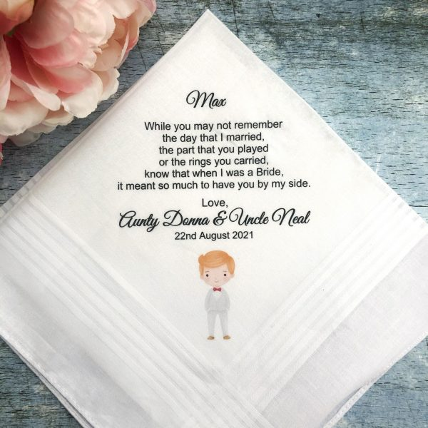 Wedding Gift for PageBoy from Aunty and Uncle, Personalised Wedding Hanky Poem