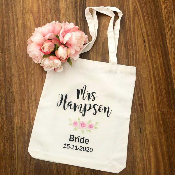 Bride Tote Bag, Personalised Mrs Tote Bag, Personalised Reusable Bags, Wedding Tote Bag