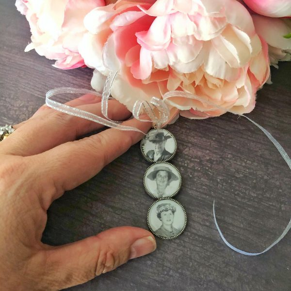 photo charms for wedding bouquet, Triple round wedding bouquet charm, photo frames for wedding bouquets
