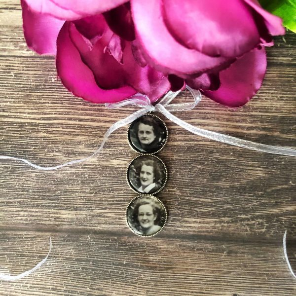 medium sized tiro charms, photo charms for brides bouquet, Remembering loved one at wedding