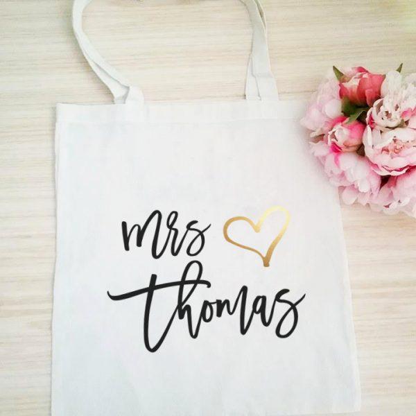 Personalised Tote Bag, Wedding Tote Bag, Mrs Name Bag,
