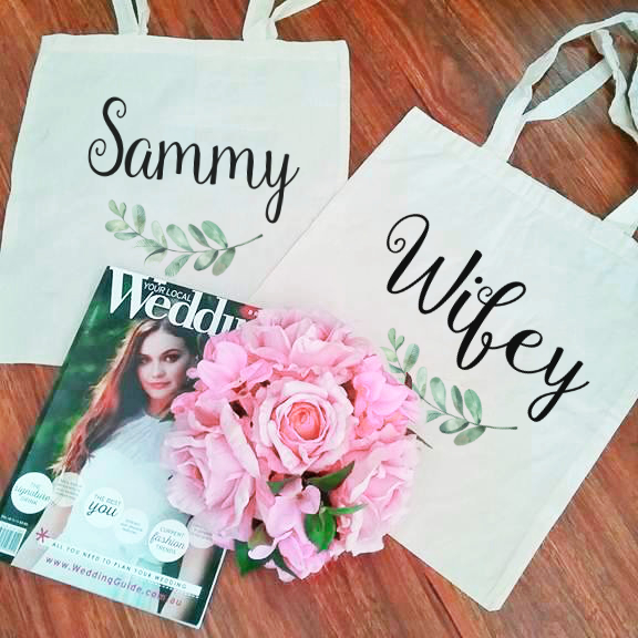 Gift for New Wifey, Cotton Anniversary Gift for Wife, Bride Tote Bag, Personalised Bags Australia