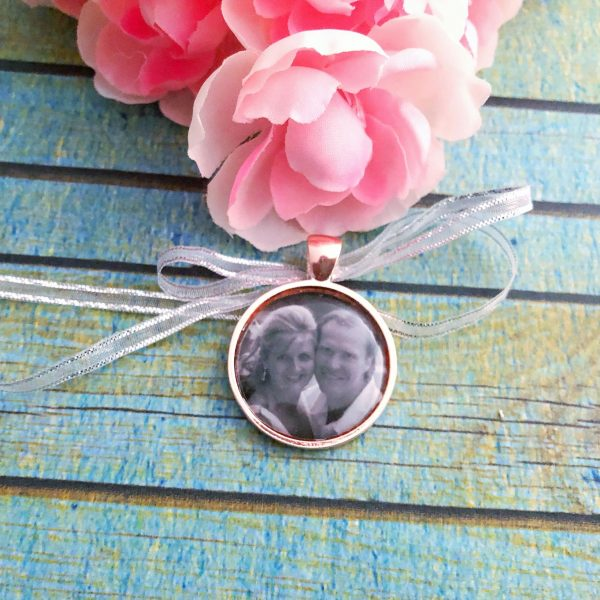 Rose Gold Bouquet Photo Charm, Honouring Parents at wedding
