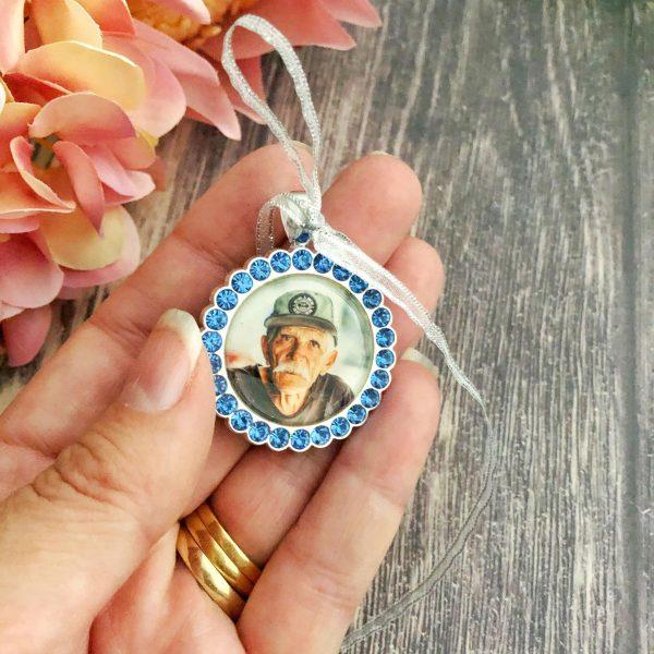 Something blue for Bride, Blue Wedding memory Charm, Bride memorial charm