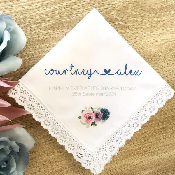 personalised wedding handkerchief for bride, Gift keepsake for bride, Personalised Hanky for Bride