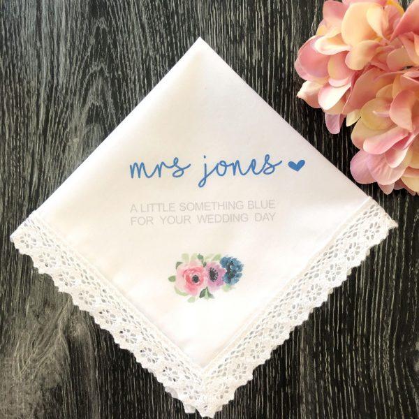 Wedding day Gift for new Mrs, Something Blue Gift for Bride, Custom Hanky for Wedding